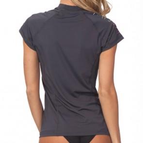 Rip Curl Wetsuits Women's Coast To Coast Short Sleeve Rash Guard - Dark Grey