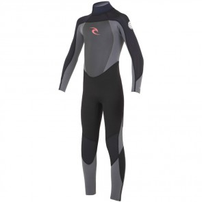 Rip Curl Youth Dawn Patrol 4/3 Back Zip Wetsuit - Black