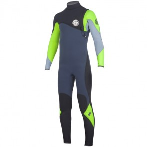 Rip Curl Youth Flash Bomb 4/3 Zip Free Wetsuit - Lemon