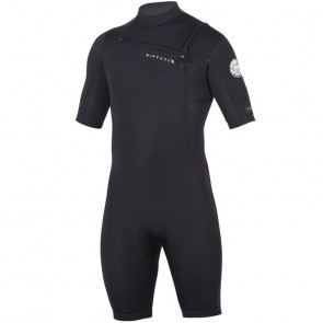 Rip Curl Aggrolite 2mm Short Sleeve Chest Zip Spring Suit - Black