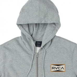 RVCA Red Patch Zip-Up Hoodie - Grey Noise