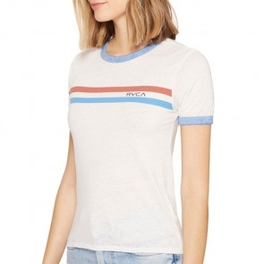 RVCA Women's Stripe Chest Ringer T-Shirt - Vintage White
