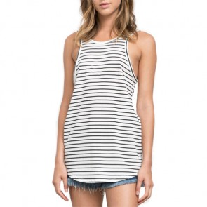 RVCA Women's Label Drop Back Tank - Vintage White/Black