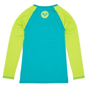 Roxy Wetsuits Youth Raglan Long Sleeve Rash Guard - Tile Blue