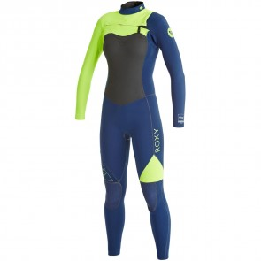 Roxy Women's AG47 Performance 3/2 Chest Zip Wetsuit - Navy/Lemon
