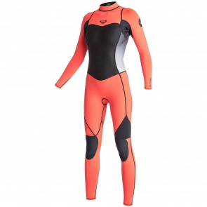 Roxy Women's Syncro 3/2 Back Zip Wetsuit  - Graphite/Peach