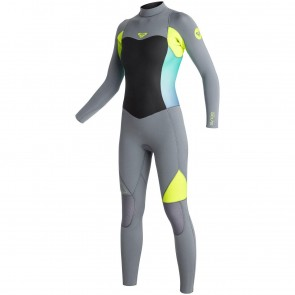 Roxy Women's Syncro 4/3 Back Zip Wetsuit - Dark Grey/Lemon