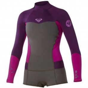 Roxy Women's Syncro 2mm Booty Cut Long Sleeve Spring Wetsuit - Graphite/Purple