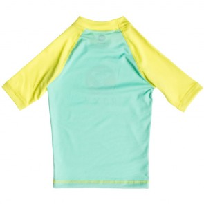 Roxy Wetsuits Toddler Sail Away Short Sleeve Rash Guard - Sea Foam/Limeade
