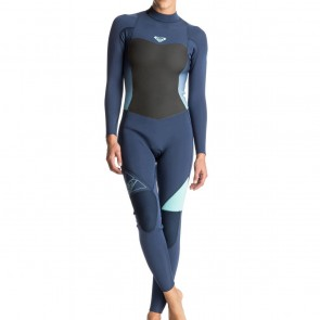 Roxy Women's Syncro 3/2 Flatlock Back Zip Wetsuit - Blue Print