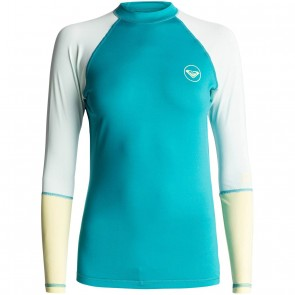 Roxy Women's Sea Bound Long Sleeve Rash Guard - Dark Jade/Soothing Sea/Citrus