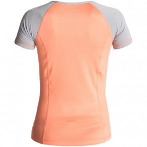 Roxy Women's Four Shores Rash Guard - Sunkissed Coral/Heather Grey