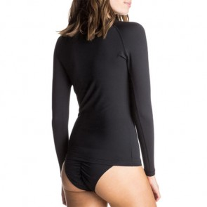 Roxy Women's Whole Hearted Long Sleeve Rash Guard - Black