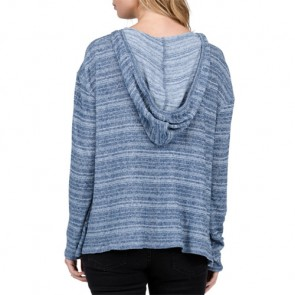 Volcom Women's Lived In Go Long Sleeve Hooded Top - Blue Drift Wash