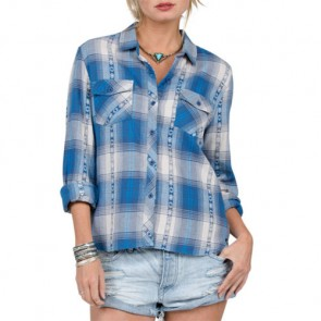 Volcom Women's Kindling Flannel - Electric Blue