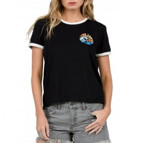Volcom Women's Rangle Me Ringer T-Shirt - Black