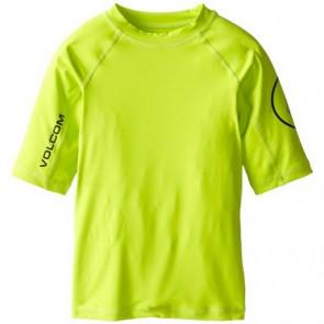 Volcom Youth Solid Short Sleeve Rash Guard - Lime