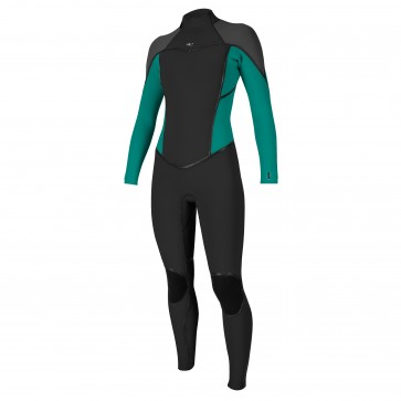 O'Neill Women's Psycho I 3/2 Back Zip Wetsuit - Black/Capri/Graphite