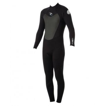 Rip Curl Omega Back Zip Flatlock 3/2 Wetsuit - Black