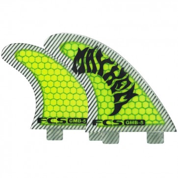FCS Fins - GMB5 PC Tri-Quad - Neon Green/Black Hex