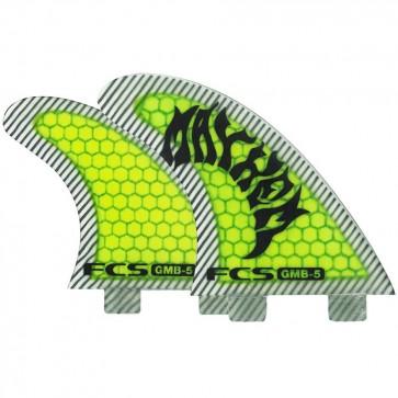 FCS Fins - GMB5 PC Tri-Quad - Neon Green/Black Hex