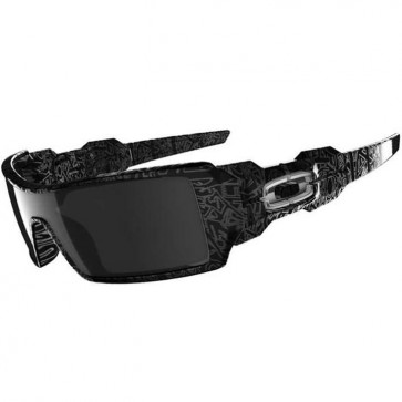 Oakley Oil Rig Sunglasses - Polished Black/Ghost Text/Black Iridium