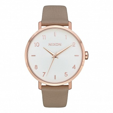Nixon Women's Arrow Leather Watch - Rose Gold/Grey