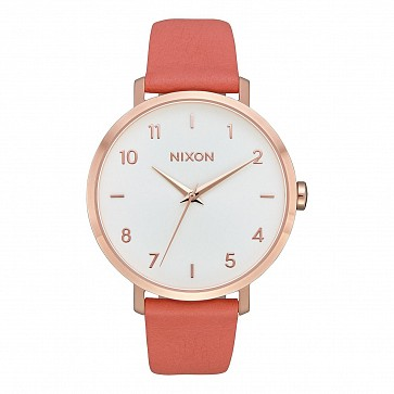 Nixon Women's Arrow Leather Watch - Rose Gold/Salmon