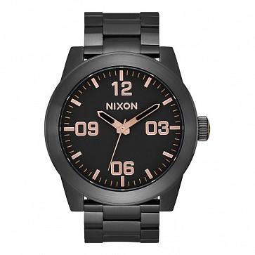 Nixon Corporal SS Watch - All Black/Rose Gold