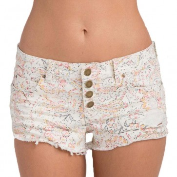 Billabong Women's Buttoned Up Denim Shorts - White Cap