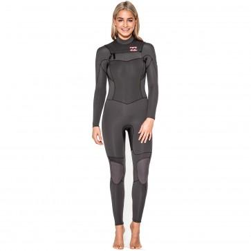 Billabong Women's Synergy 4/3 Chest Zip Wetsuit - Off Black