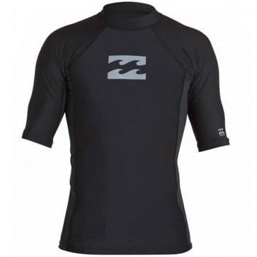 Billabong Wetsuits All Day Wave Performance Short Sleeve Rash Guard - Black