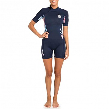 Rip Curl Women's Dawn Patrol 2mm Short Sleeve Back Zip Spring Wetsuit - Navy