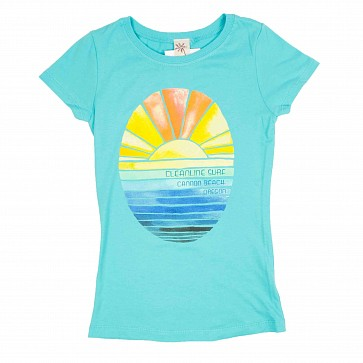 Cleanline Youth Golden Horizon Cannon Beach T-Shirt - Tahiti Blue