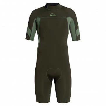 Quiksilver Syncro 2mm Short Sleeve Back Zip Spring Wetsuit - Dark Ivy/Shade Olive