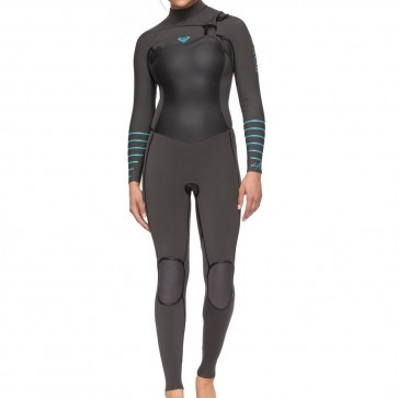 Roxy Women's Syncro Plus 4/3 Chest Zip Wetsuit - Jet Black/Heather Blue