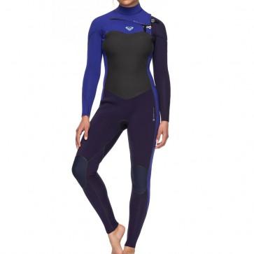 Roxy Women's Performance 3/2 Chest Zip Wetsuit - Blue Ribbon/Purple Blue