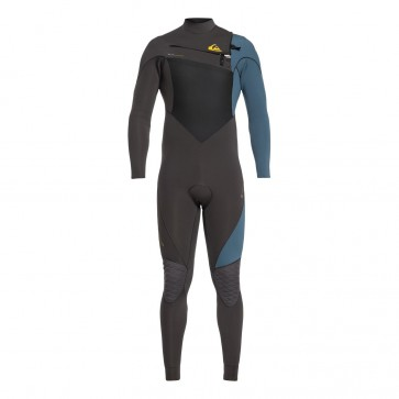 Quiksilver Highline Plus 3/2 Chest Zip Wetsuit - Jet Black/Blue Steel