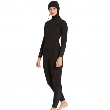 Billabong Women's Furnace Carbon 5/4 Hooded Chest Zip Wetsuit - Black
