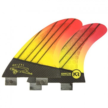 Kinetik Racing Fins Quad FCS Trailers - Neon Yellow Orange
