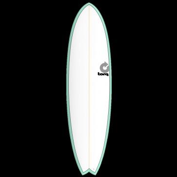 Torq Mod Fish 7'2 x 22 1/2 x 3 Surfboard - Seagreen/White - Top