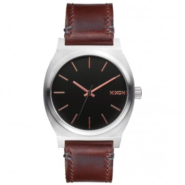 Nixon Time Teller Leather Watch - Grey/Rose Gold/Brow