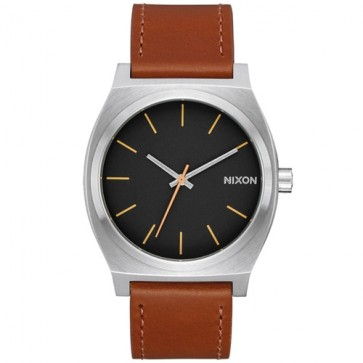 Nixon Time Teller Leather Watch - Silver/Black/Brown