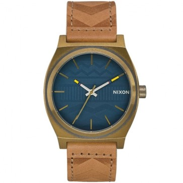 Nixon Time Teller Leather Watch - Brass/Navy/Hickory