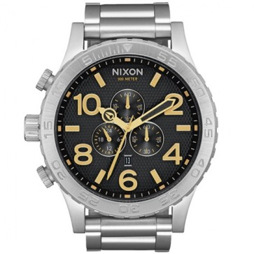Nixon 51-30 Chrono Watch - Black Stamped/Gold