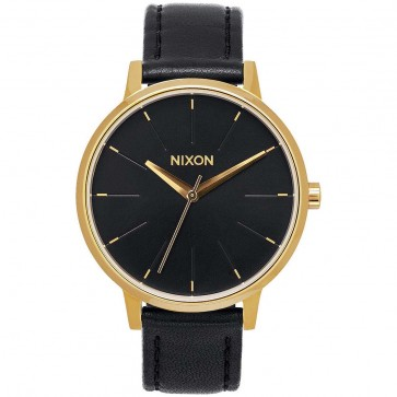 Nixon Kensington Leather Watch - Gold/Black