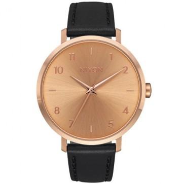 Nixon Women's Arrow Leather Watch - Rose Gold/Black