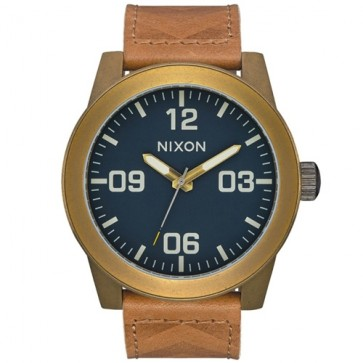 Nixon Corporal Leather Watch - Brass/Navy/Hickory