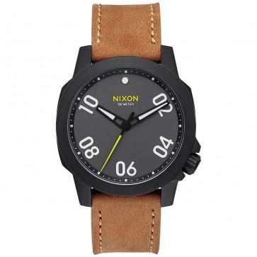 Nixon Ranger 40 Leather Watch - Black/Gunmetal/Natural