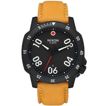 Nixon Ranger Leather Watch - All Black/Goldenrod